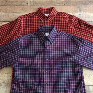 (2) Brooks Brothers 346 Button Down Shirt Plaid S